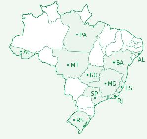 Mapa de atuação do Brasil